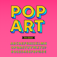 pop art retro alfabetet vektor