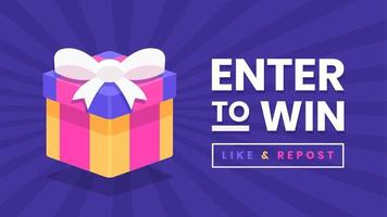 Enter To Win Gift Box Banner Vector