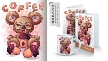 Bear Drinking Coffee Poster vector