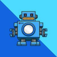 Robot on blue background