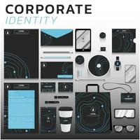 Blue line corporate identity set for business and marketing
