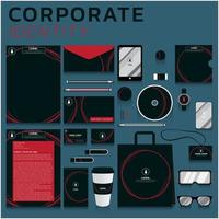 Red circles corporate identity set for business and marketing