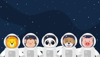 Set of cute animal astronauts in space
