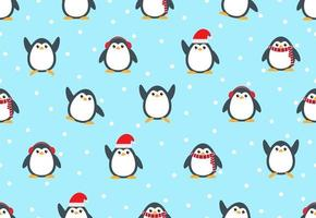 Seamless pattern of cute snow penguins vector