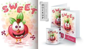 dulce cartel de manzana de dibujos animados