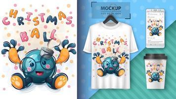 cartel de adorno de navidad de dibujos animados vector