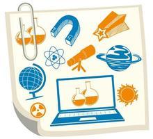 Science symbols on white paper