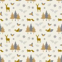 Winter holiday seamless pattern with wildlife and forest