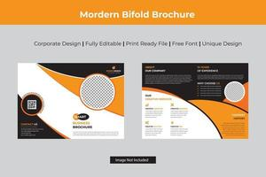 Business Bi-fold Template with Curved Details