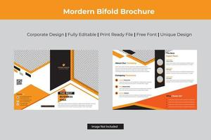 Orange Angle Design Business Bi-fold Template