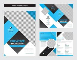Business Bi-fold  Template Design  in Cyan Color