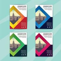 Business Flyer Template Set with Colorful Diamonds
