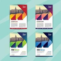 Business Flyer Template Set with Gradient Zigzag Shape