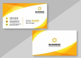 Yellow Orange Curve Business Card Design Template