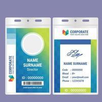 diseño de plantilla de tarjeta de identificación de degradado azul verde brillante