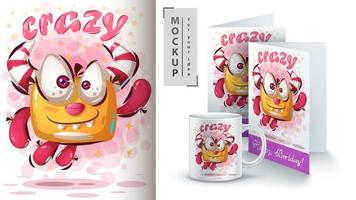 Crazy Cute Monster Jumping Poster