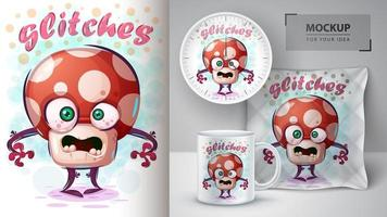 Crazy Cartoon Mushroom Glitches Poster vector
