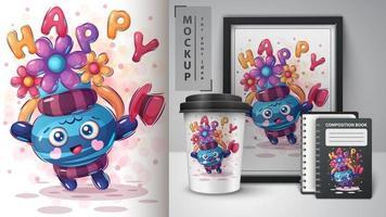 feliz jarra poster y merchandising vector
