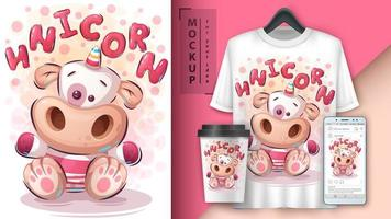 teddy unicorn poster y merchandising vector