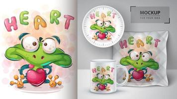 Love Frog Heart Poster vector