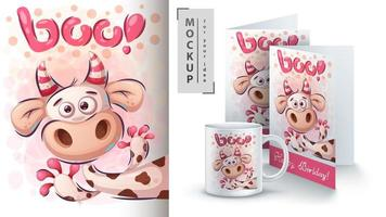 Cute Boo Cow Poster