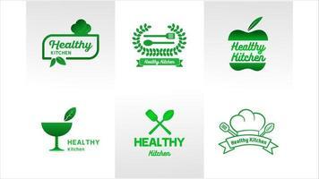 salud cocina verde logo set vector