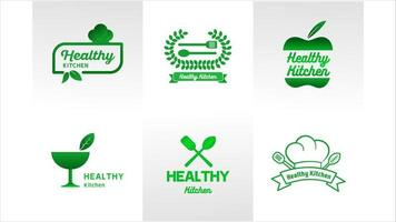 Health Kitchen Green Logo Set