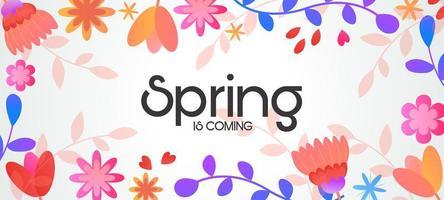 Horizontal floral spring sale banner vector