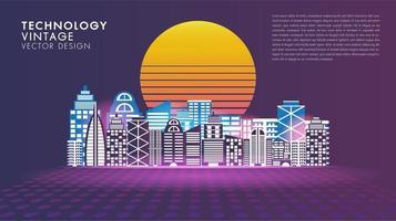 Cartel de ciudad inteligente de innovación social de estilo vintage