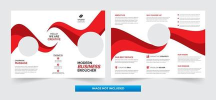 Red and White Wave Corporate Tri-fold Template Design