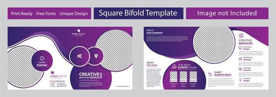 Purple Geometric Corporate Square Bi-fold Brochure Design