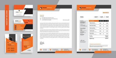 Orange and Black Modern Business Stationery Template Set