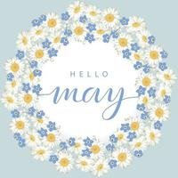 Hello May card with flower wreath