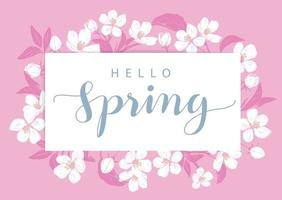 Pink hello Spring card with flowers