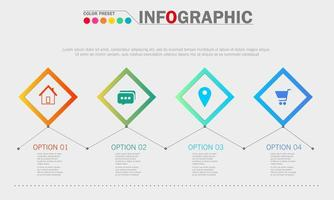 Infographic Template with Diamond Shape Elements  vector