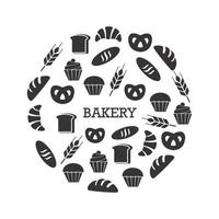 Black and white bakery set vector