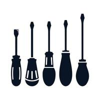 Screwdrivers with rounded handles set  vector