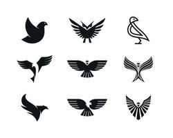 Eagle dove phoenix and owl icons
