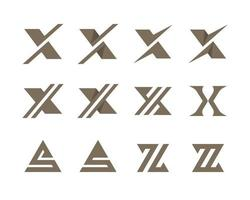 Letters X S and Z typographic logo set