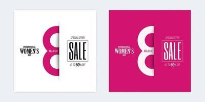 descuento del día internacional de la mujer descuento en papel cortado pancartas