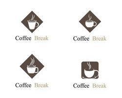 conjunto de logo de taza de café