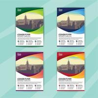 Business Flyer Template Set with Colorful Curved Image Space