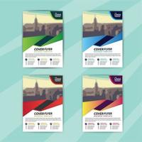 Business Flyer Template Set with Colorful Dynamic Shape