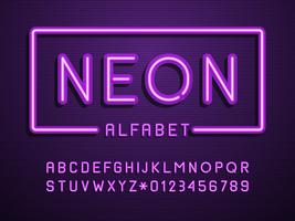 alfabeto de vector de luz de neón púrpura