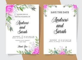 Watercolor wedding invitation with pink roses vector