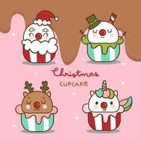 Cute Winter cupcakes Christmas Kawaii food vector