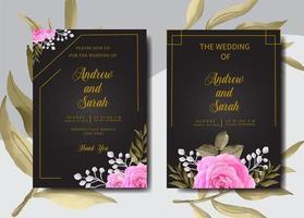 Watercolor wedding invitation card set vector
