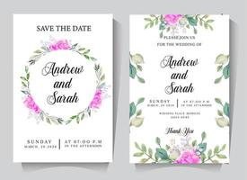 Wedding invitation card set with circle rose frame vector