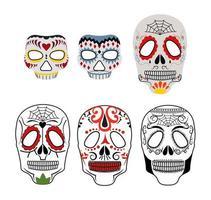 Day of the Dead Skulls on White vector