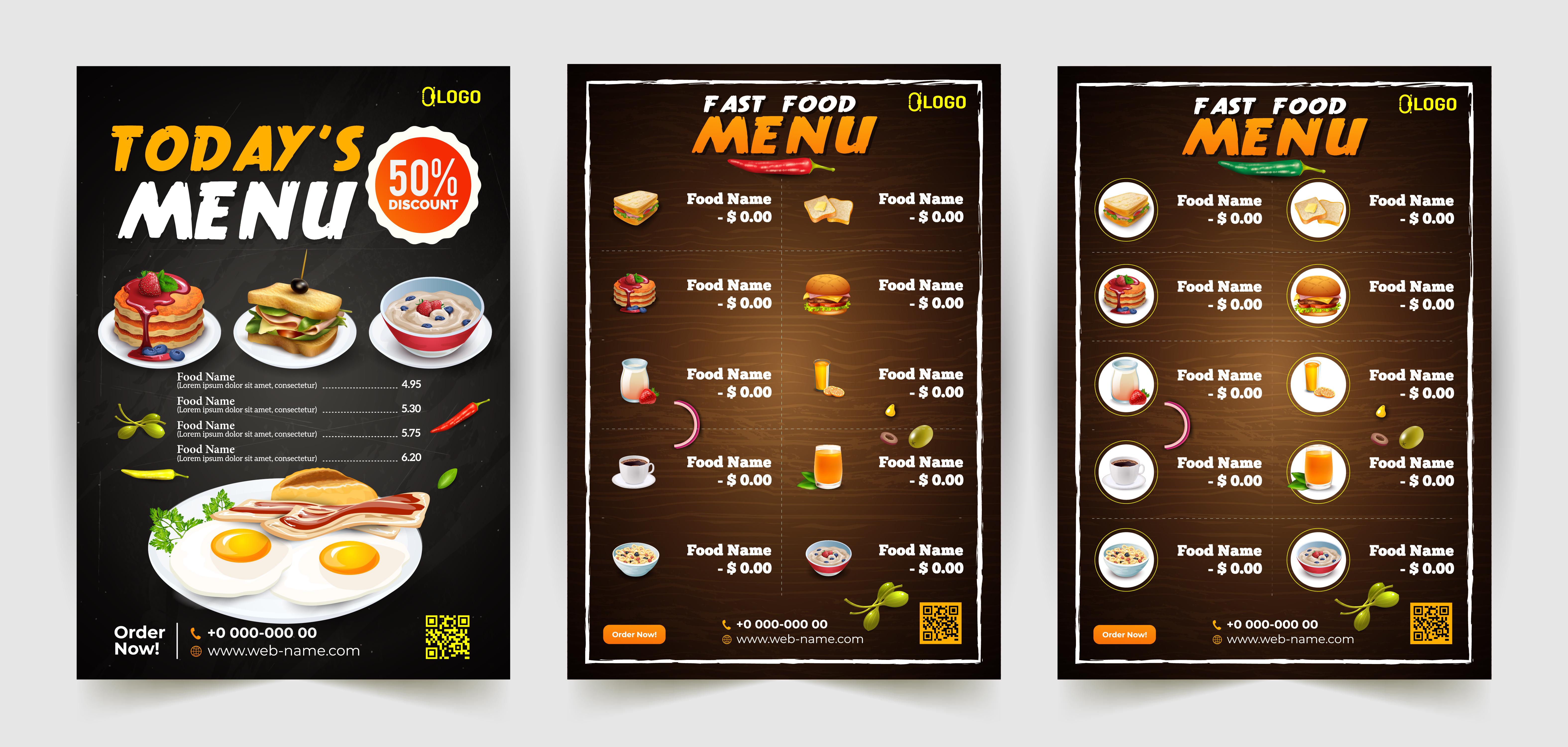Modern Restaurant Menu Poster Set Download Free Vectors Clipart Graphics Vector Art